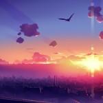 city birds clouds sun anime