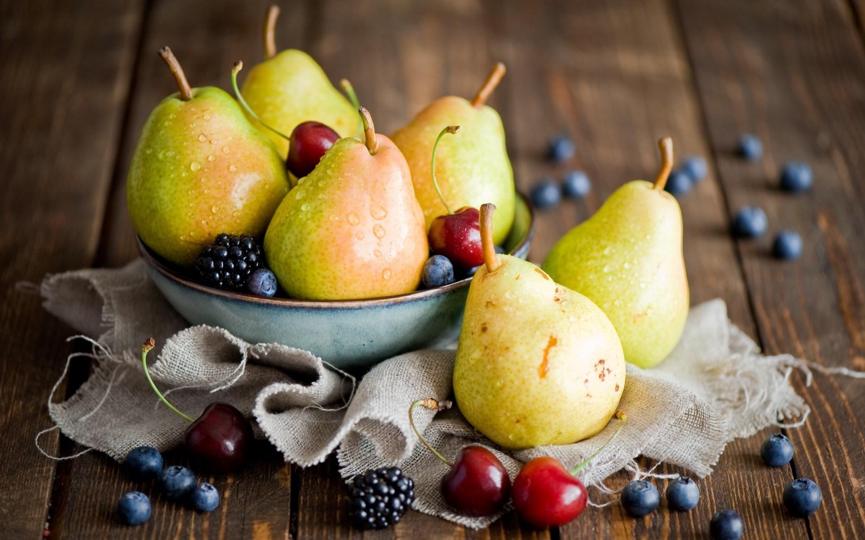 fruits berries pears cherries blackberries