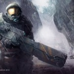 halo armor warrior weapon rain art