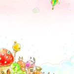 houses clouds balloons art