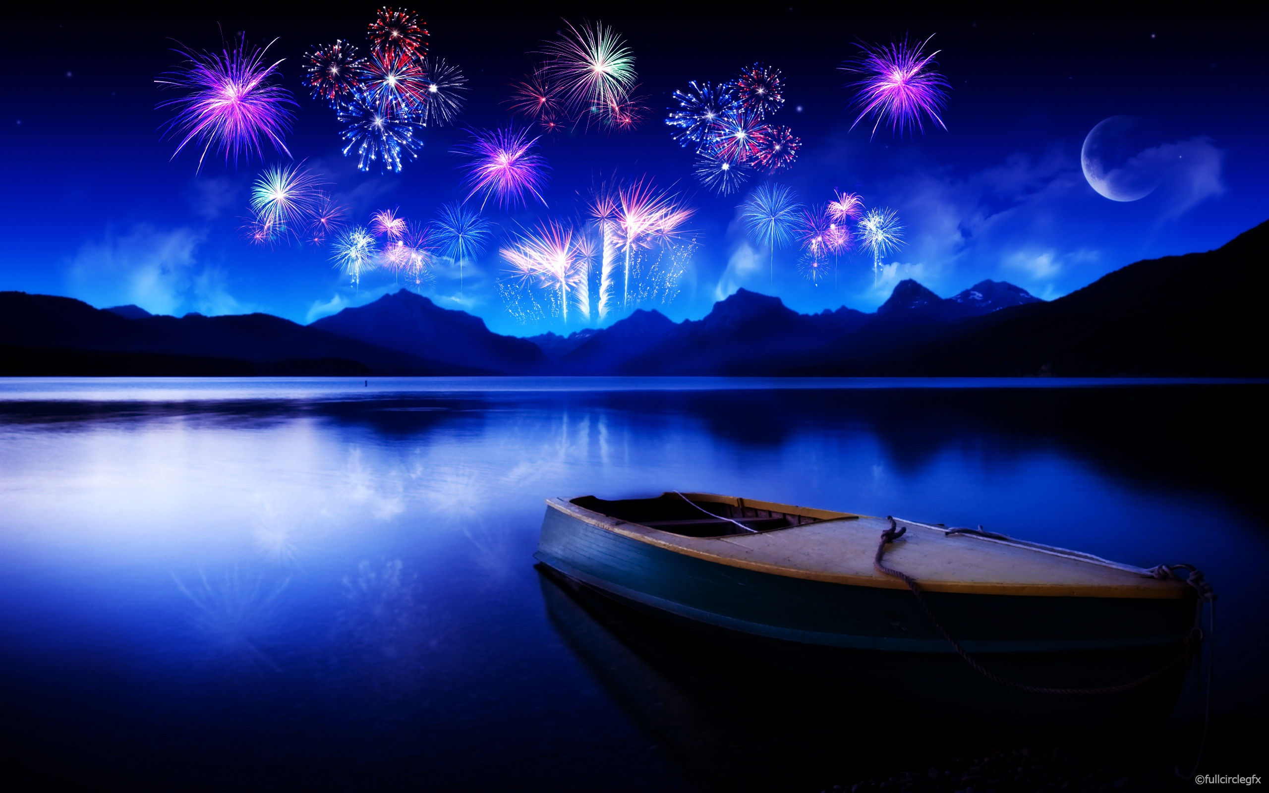 Celebrating New Year A Small Boat