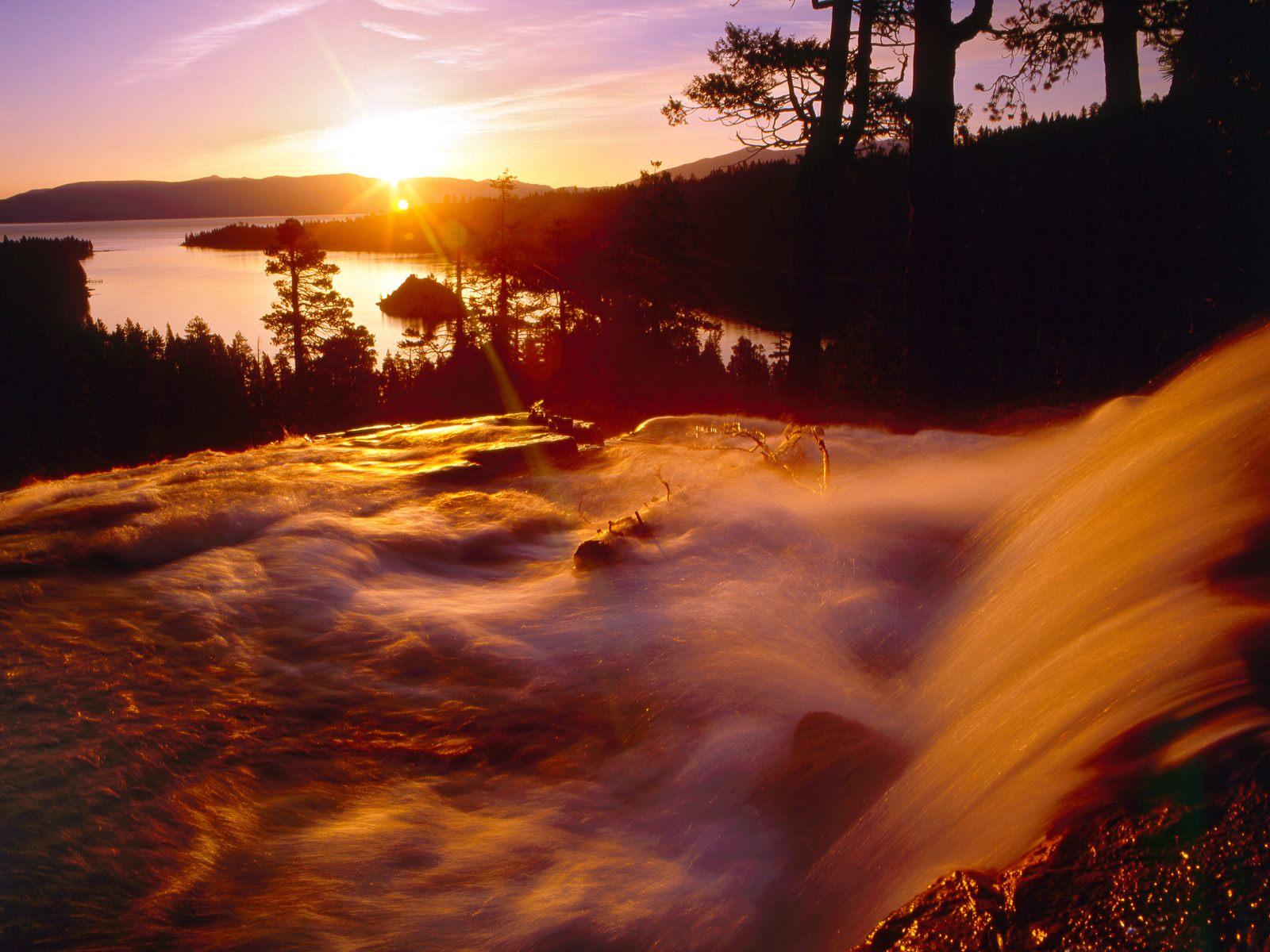 Eagle Creek and Emerald Bay at Sunrise, Lake Tahoe, California