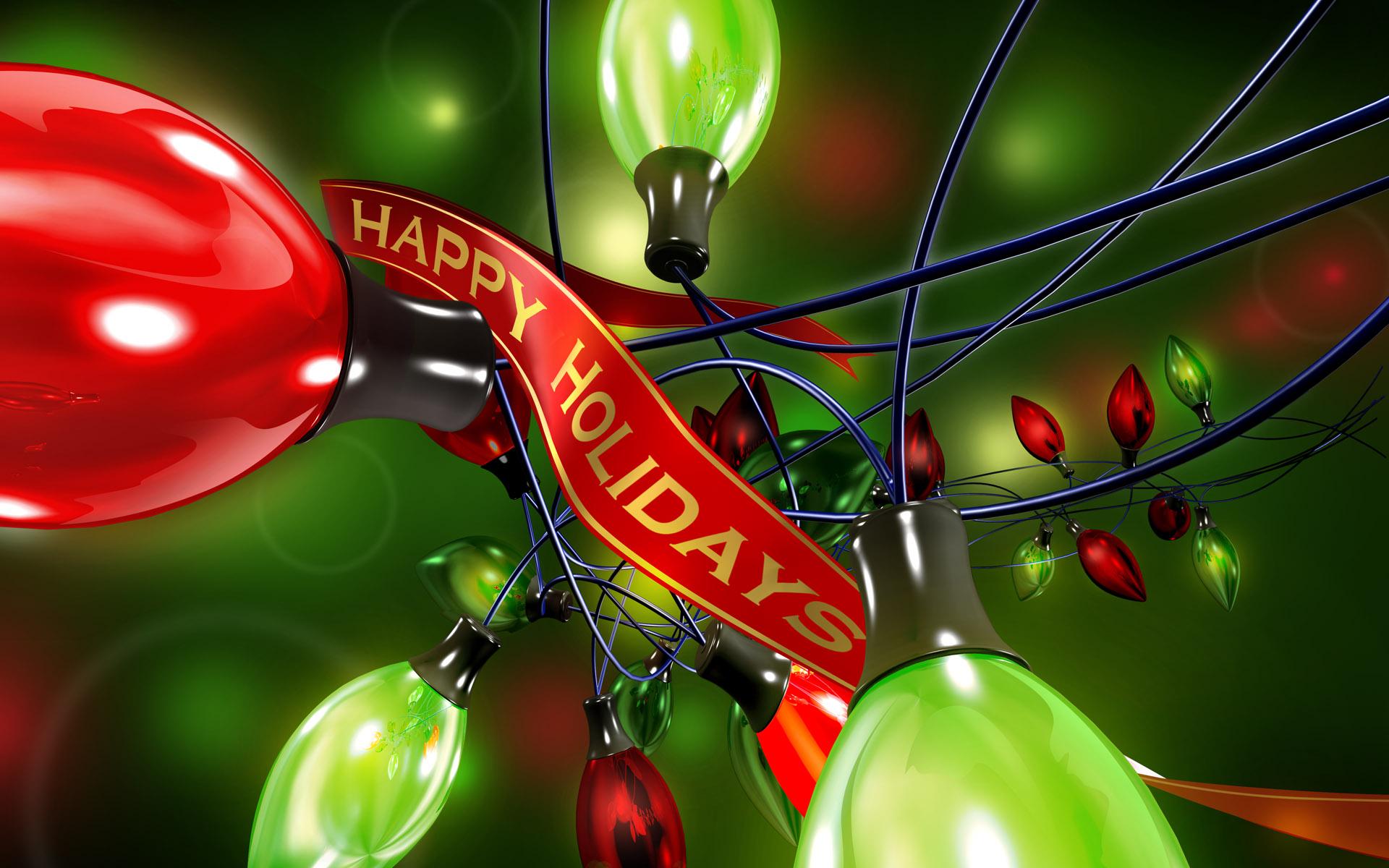 Happy Holidays Colourful Bulbs