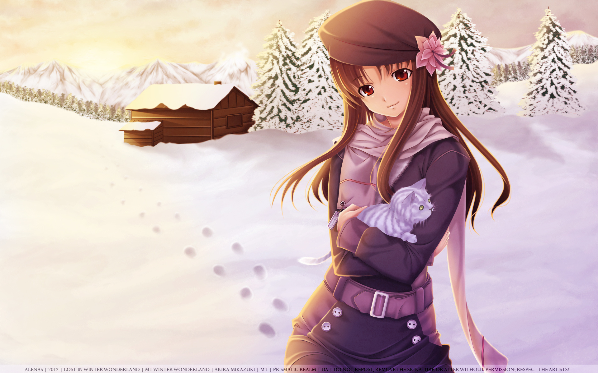 Anime Girl Winter Snow Cat