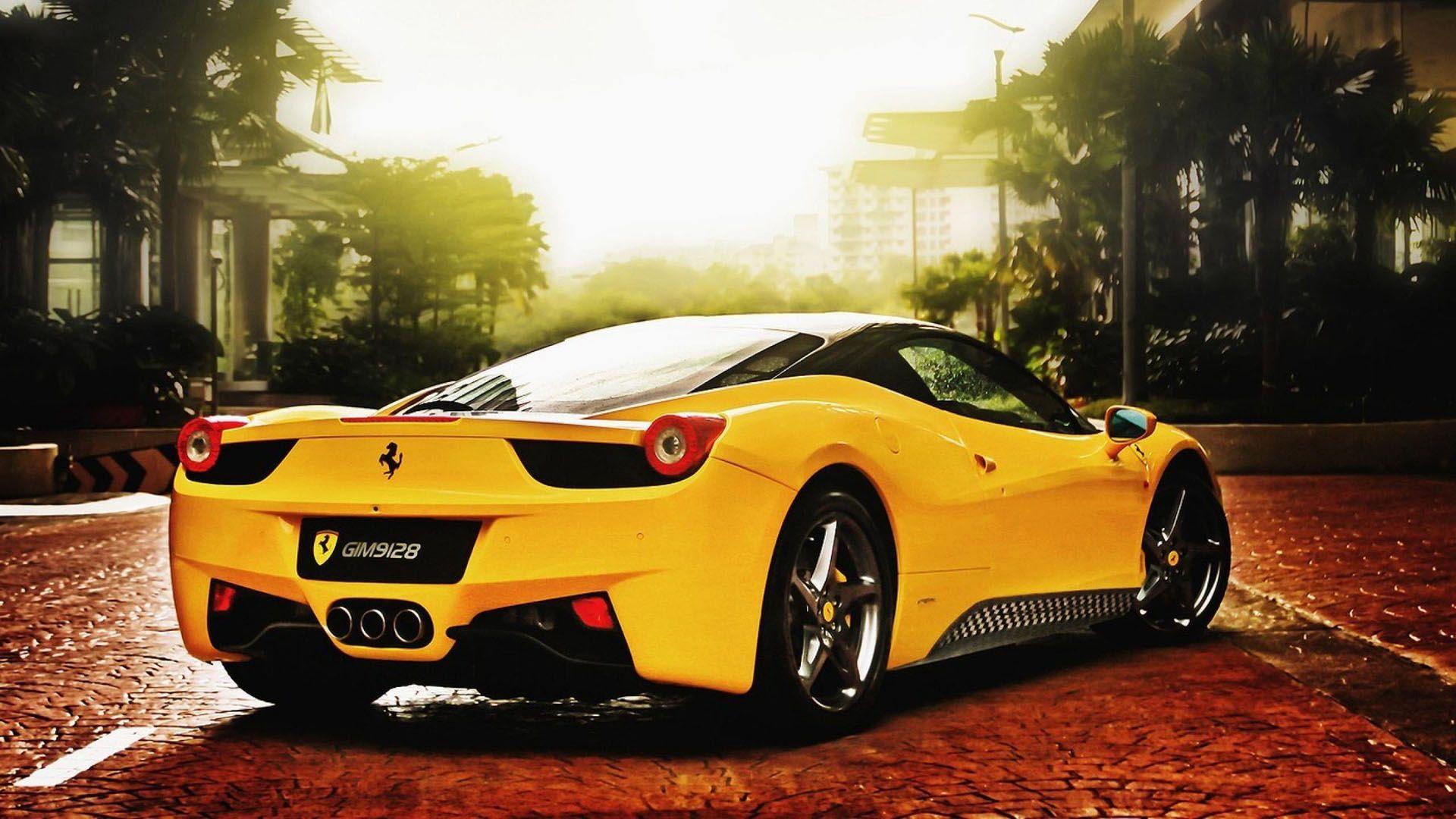 Yellow Ferrari Car